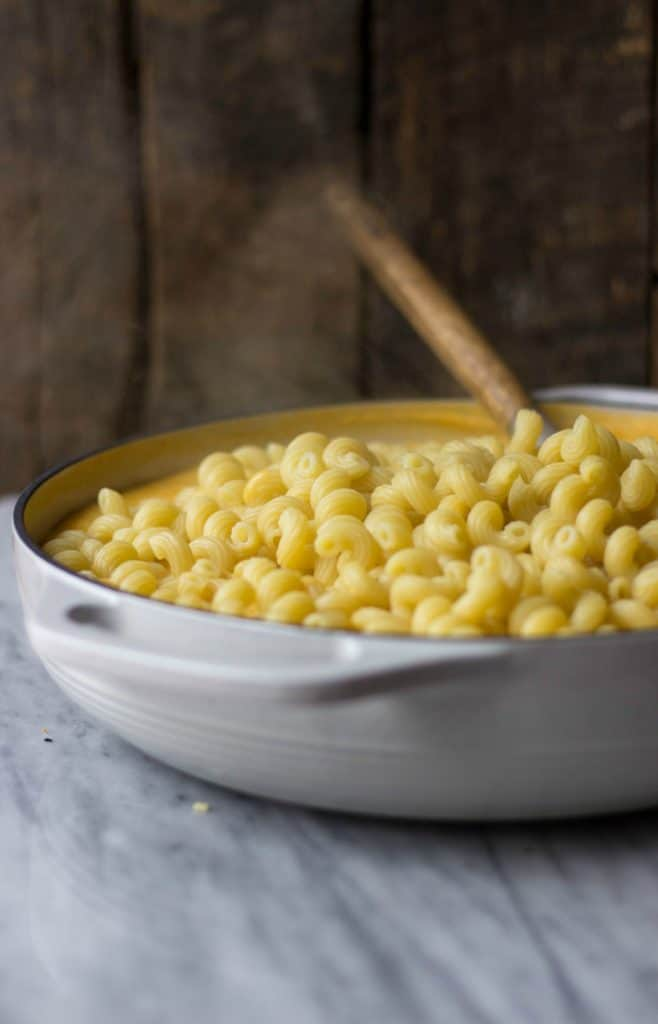 Butternut Squash Mac & Cheese in white dish.