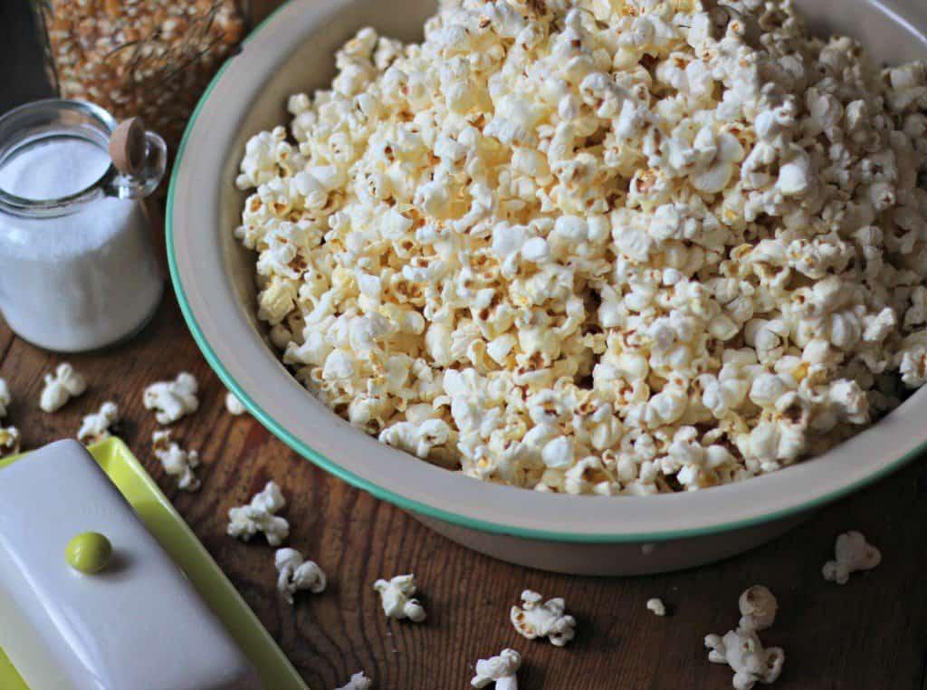 Stovetop Popcorn in a bowl