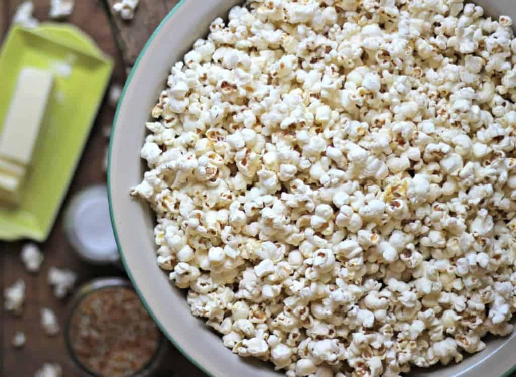 Stovetop popcorn in large bowl