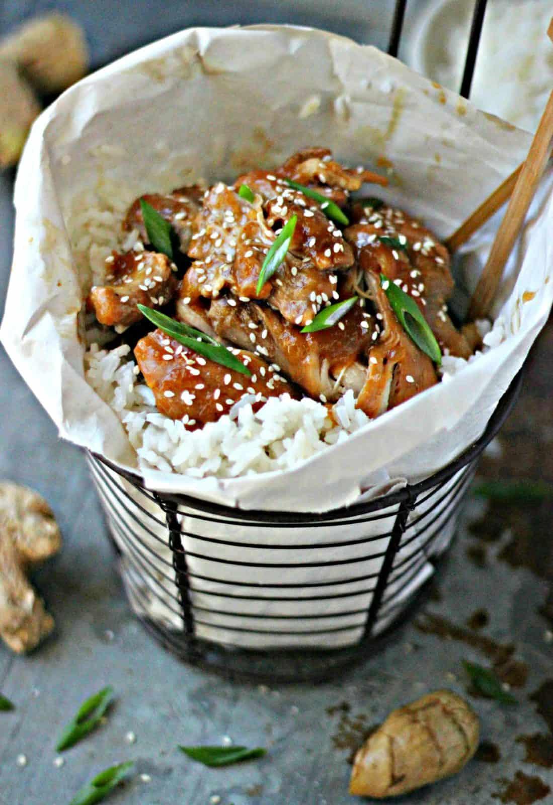 Shoyu chicken in a basket.