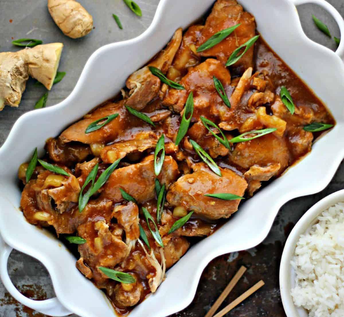 Shoyu Chicken recipe in a white ceramic dish.