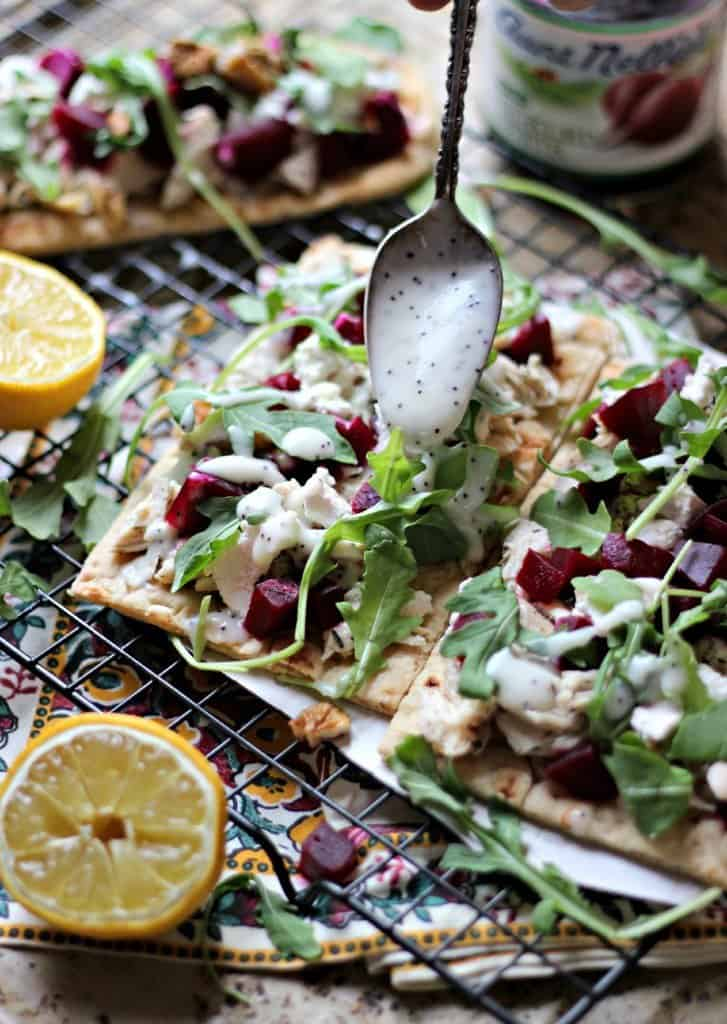 Pickled beet flatbreads on a wire rack