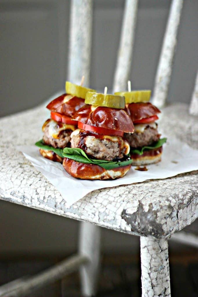 Mini pork burgers on a chair
