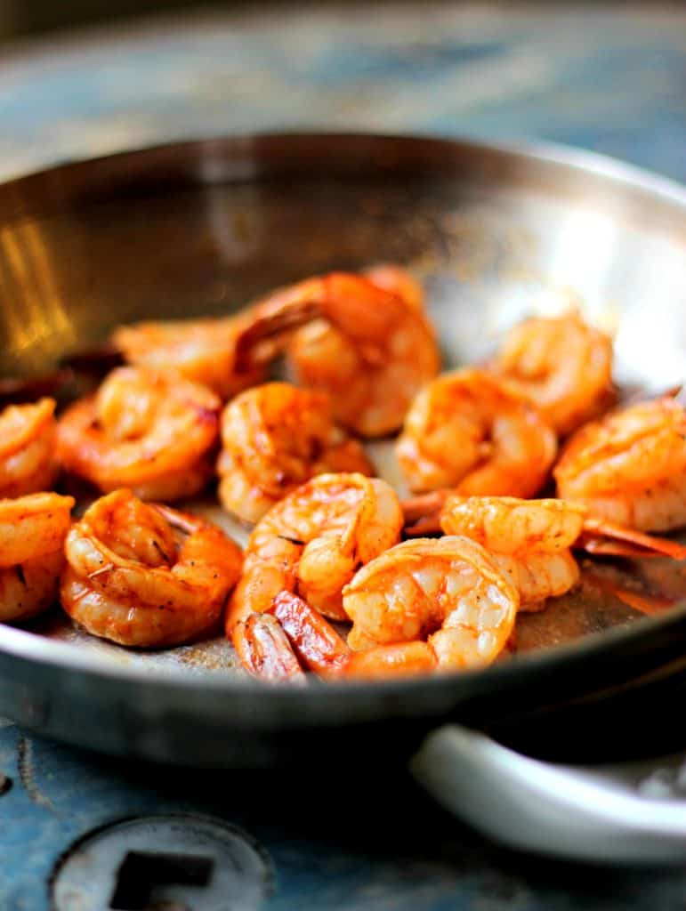 Grilled shrimp in a saute pan