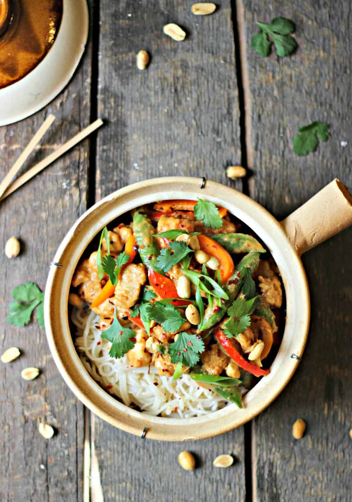 Kung Pao chicken stir fry in a bowl
