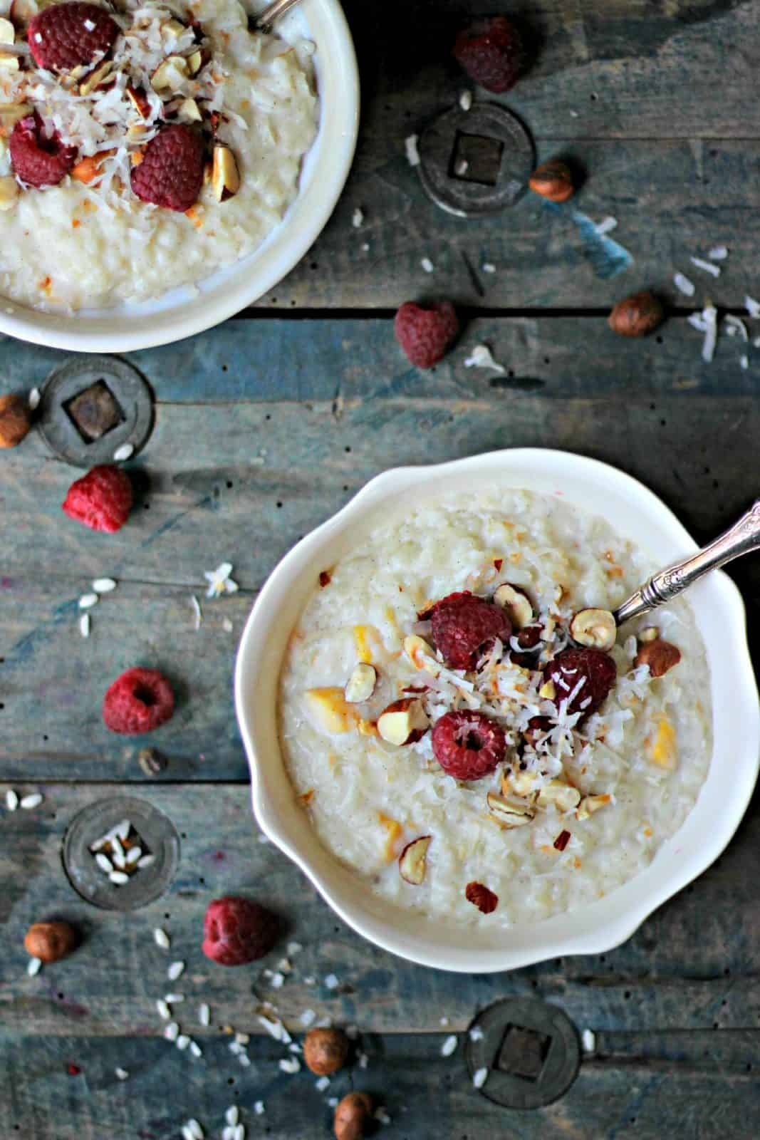 Rice Pudding in white bowls