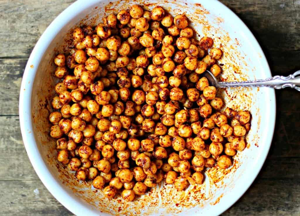 Spicy roasted chickpeas in white bowl