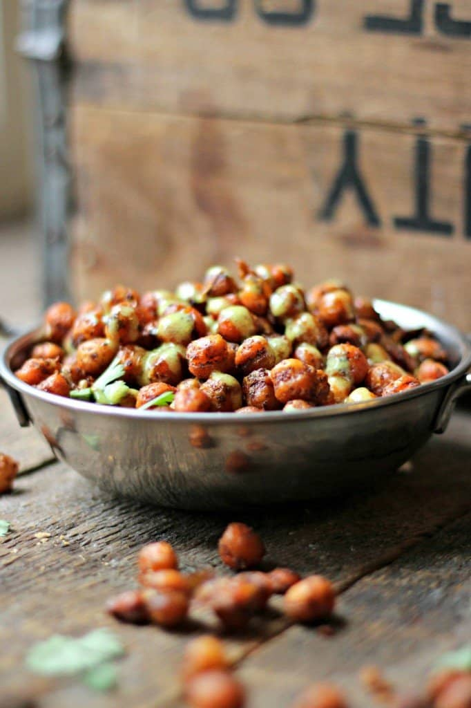 Spicy roasted chickpeas in silver bowl