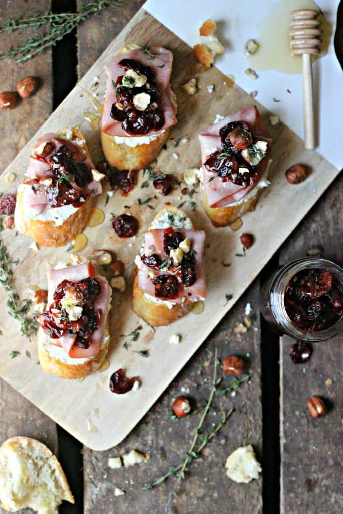 Goat cheese crostinis on a board