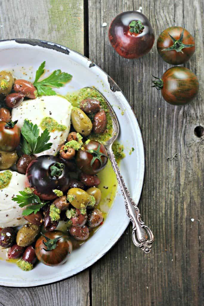 Overhead shot of Caprese Olive Salad