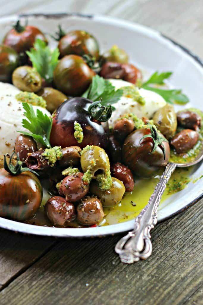 Side shot of Caprese Olive Salad
