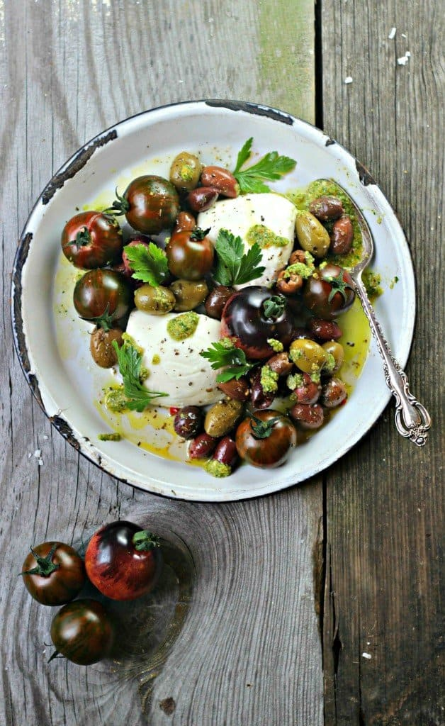Caprese Olive Salad on a plate