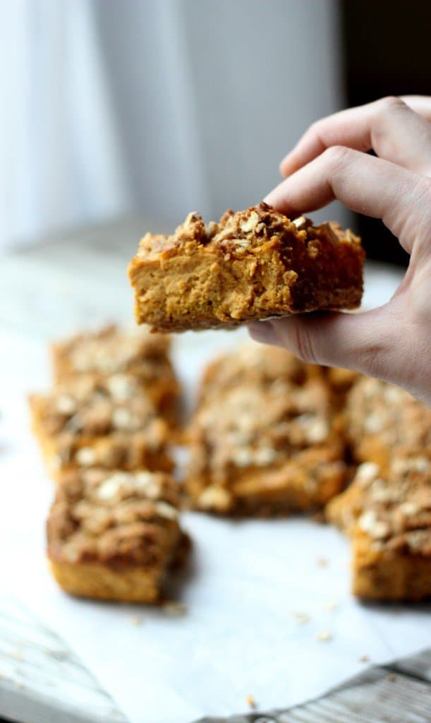 Close-up shot of hand holding one pumpkin crumb bar.