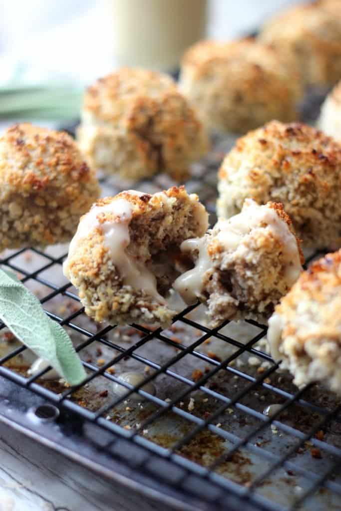 Thanksgiving leftovers balls on tray