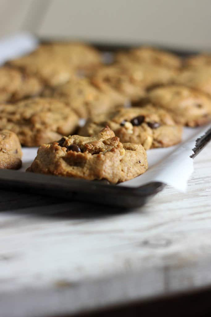 Peanut butter cookies on parchment