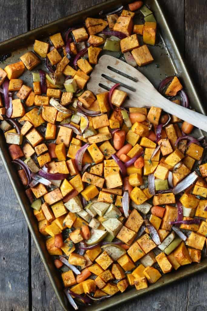 Roasted root vegetables on a baking sheet