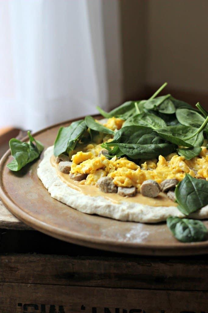 Breakfast pizza on Greek yogurt crust