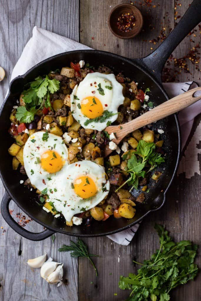 Mediterranean breakfast skillet in cast iron pan