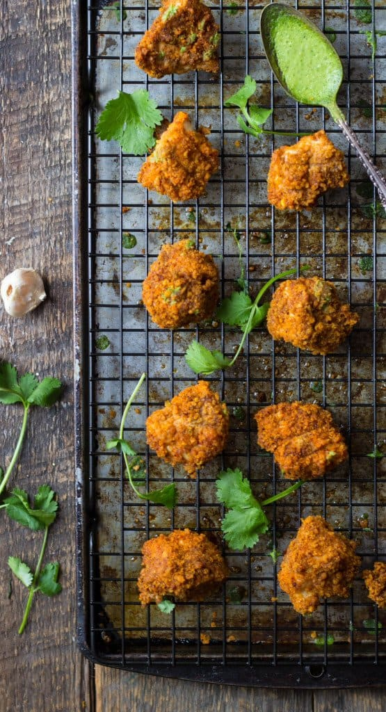 Corn chip-crusted chicken nuggets on a wire rack