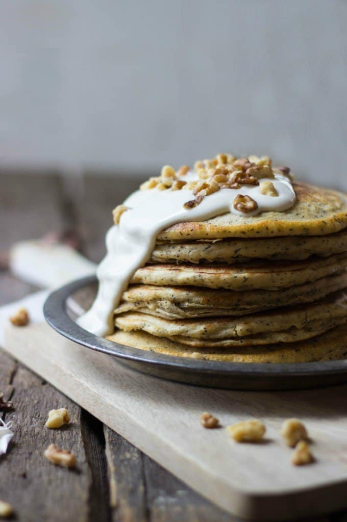 Walnut chai pancakes in a stack