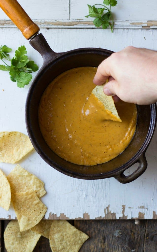 Three-cheese sweet potato queso in a pot