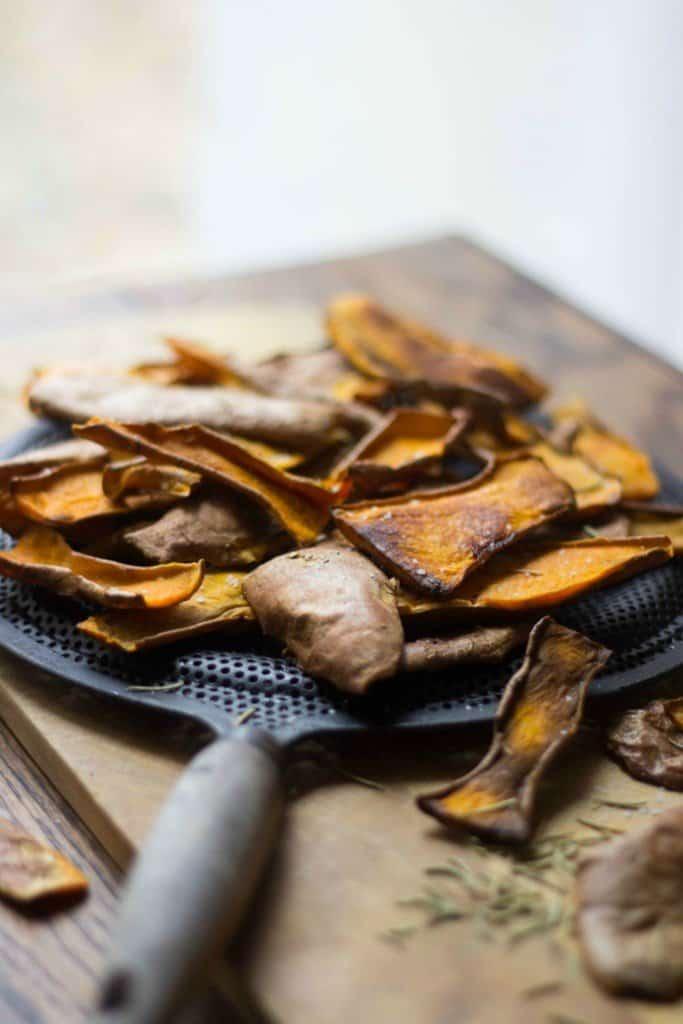 Angle shot of Sweet Potato Skin Chips