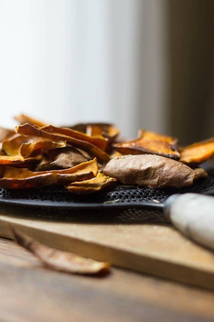 Side shot of sweet potato skins