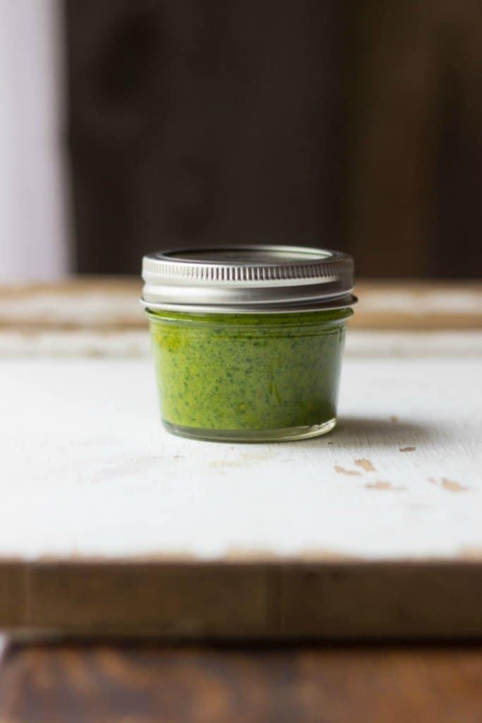 Dill pesto in a jar