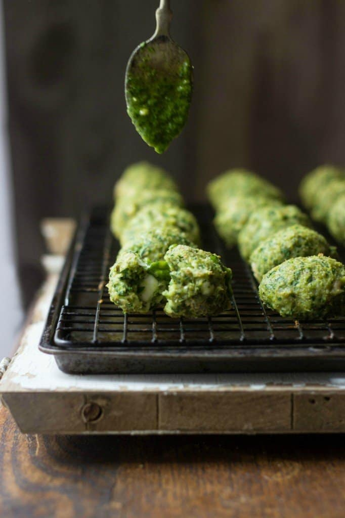 Spanakopita chicken meatballs on a tray