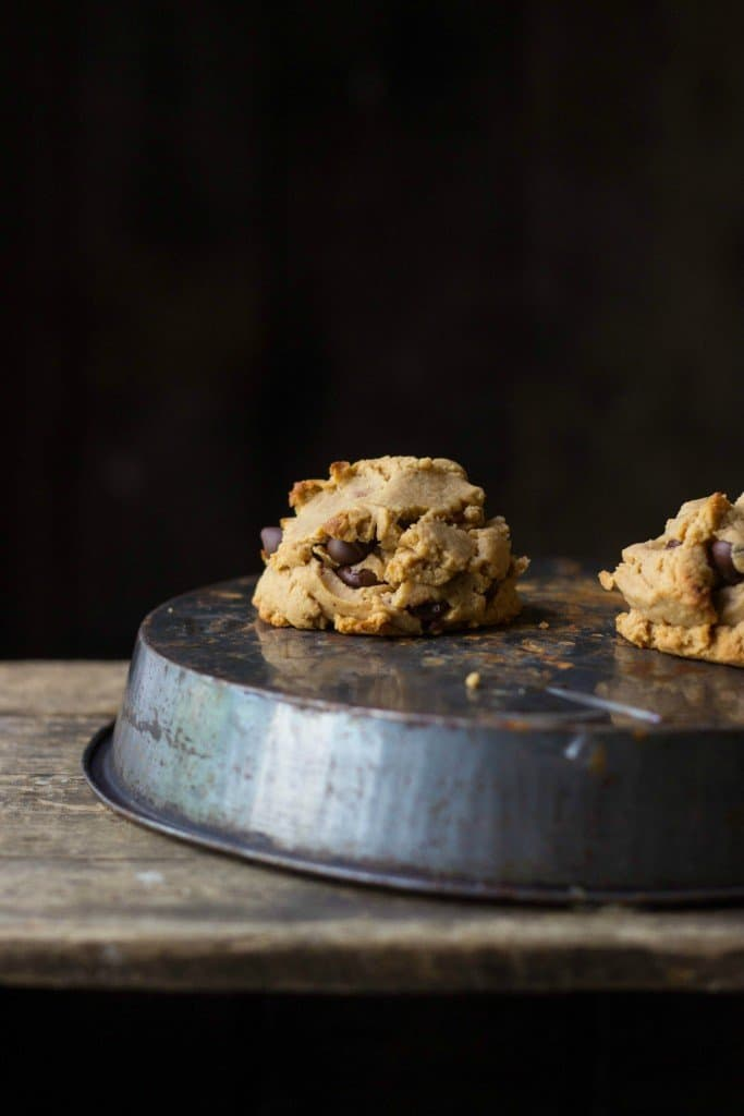 Peanut butter chocolate chip cookie on a tin