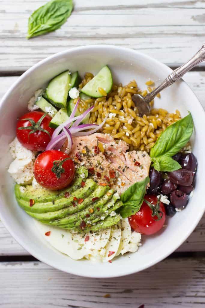 Mediterranean grain bowls in a white dish