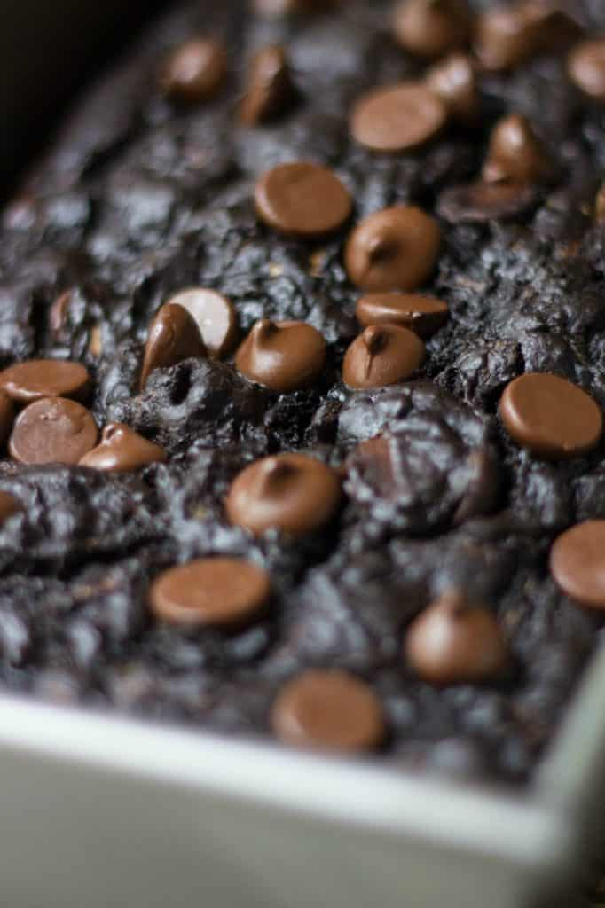 Close up shot of chocolate chips on top of zucchini bread.