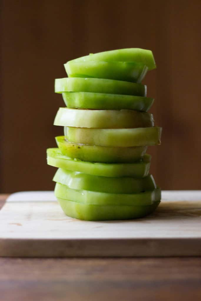 Stack of green tomato slices