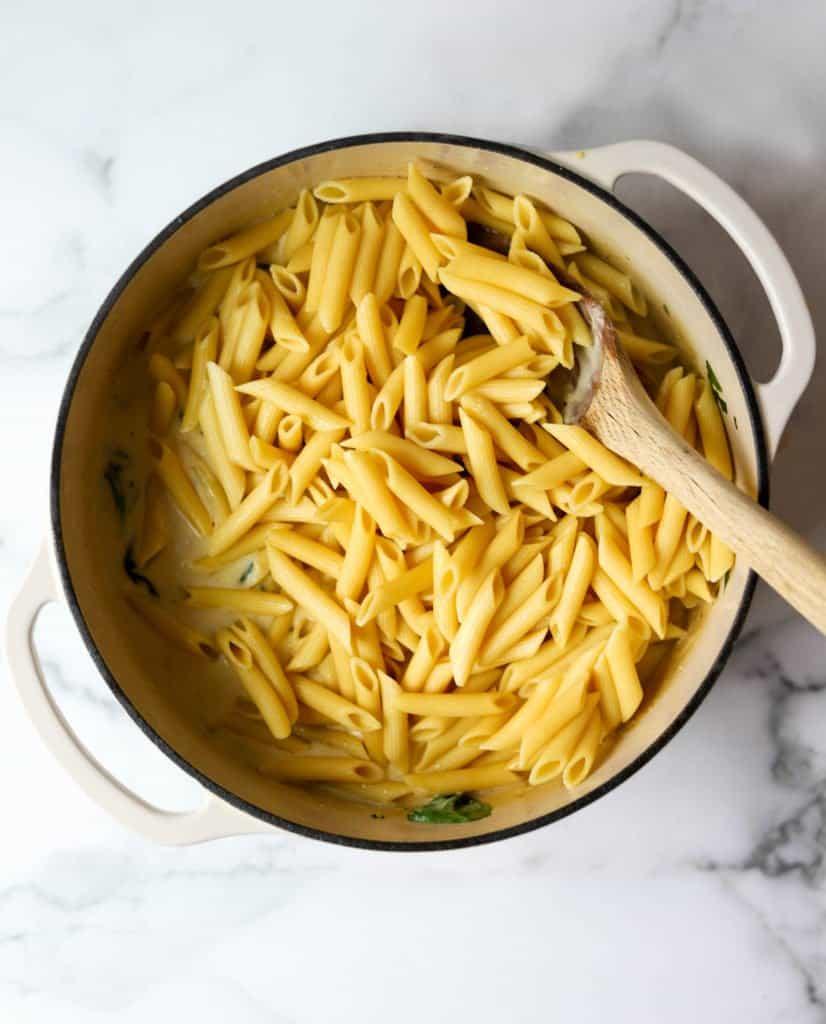 Chicken parmesan pasta in white pot