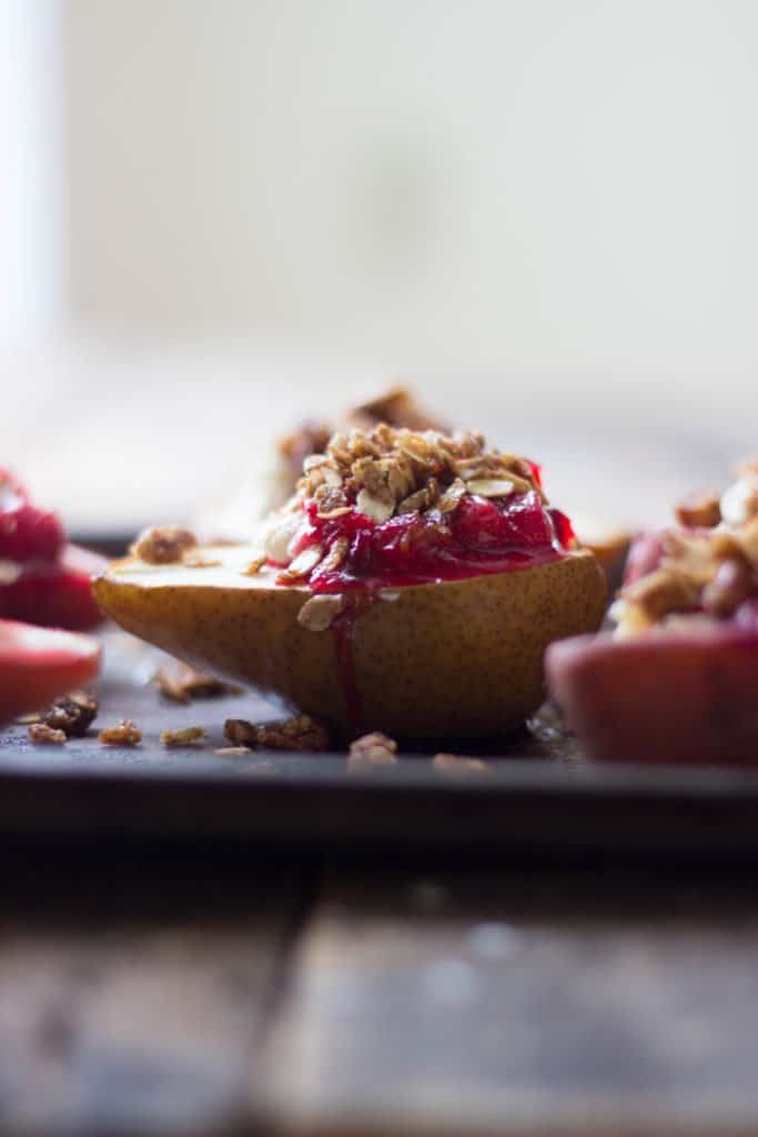 Cranberry stuffed pears on a tray