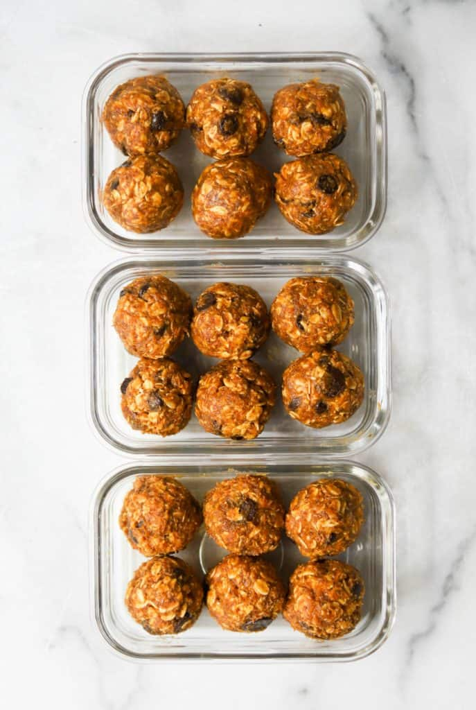 Pumpkin cookie dough bites in glass containers