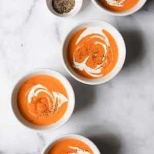 Thai Sweet Potato Soup in white bowls