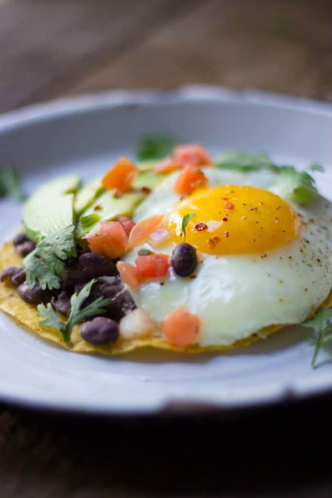 Side shot close-up of breakfast tostadas.