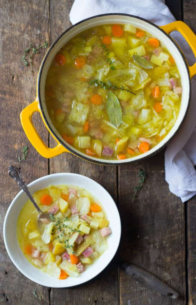 Dutch oven cabbage and ham soup