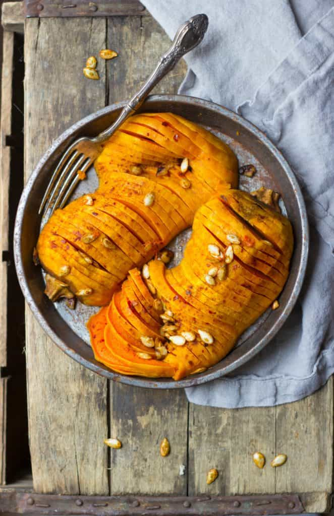 Hasselback butternut squash on a tray