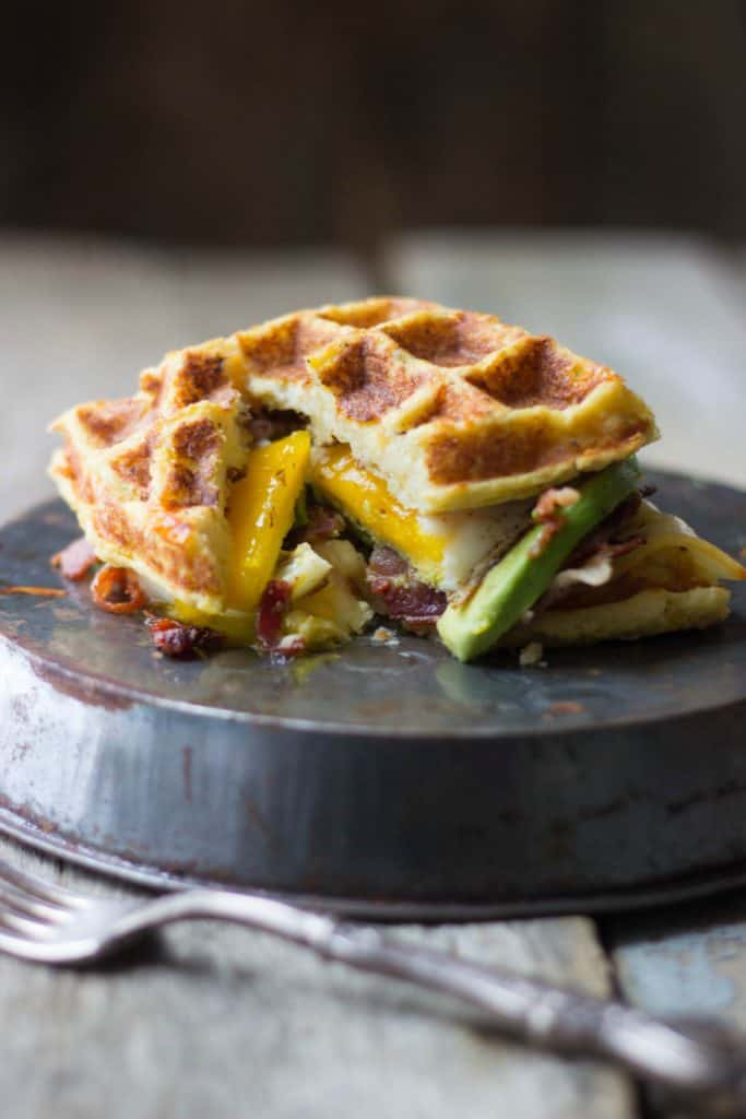 Angle view of the top portion of the waffle part of the sandwich.
