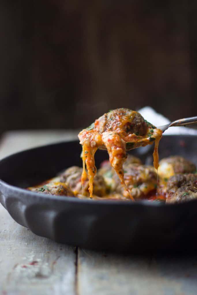 Italian meatballs in a cast iron skillet