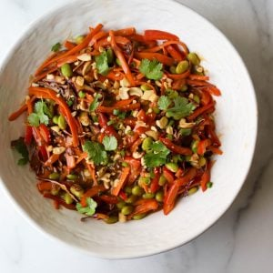 Thai vegetable salad in a white bowl