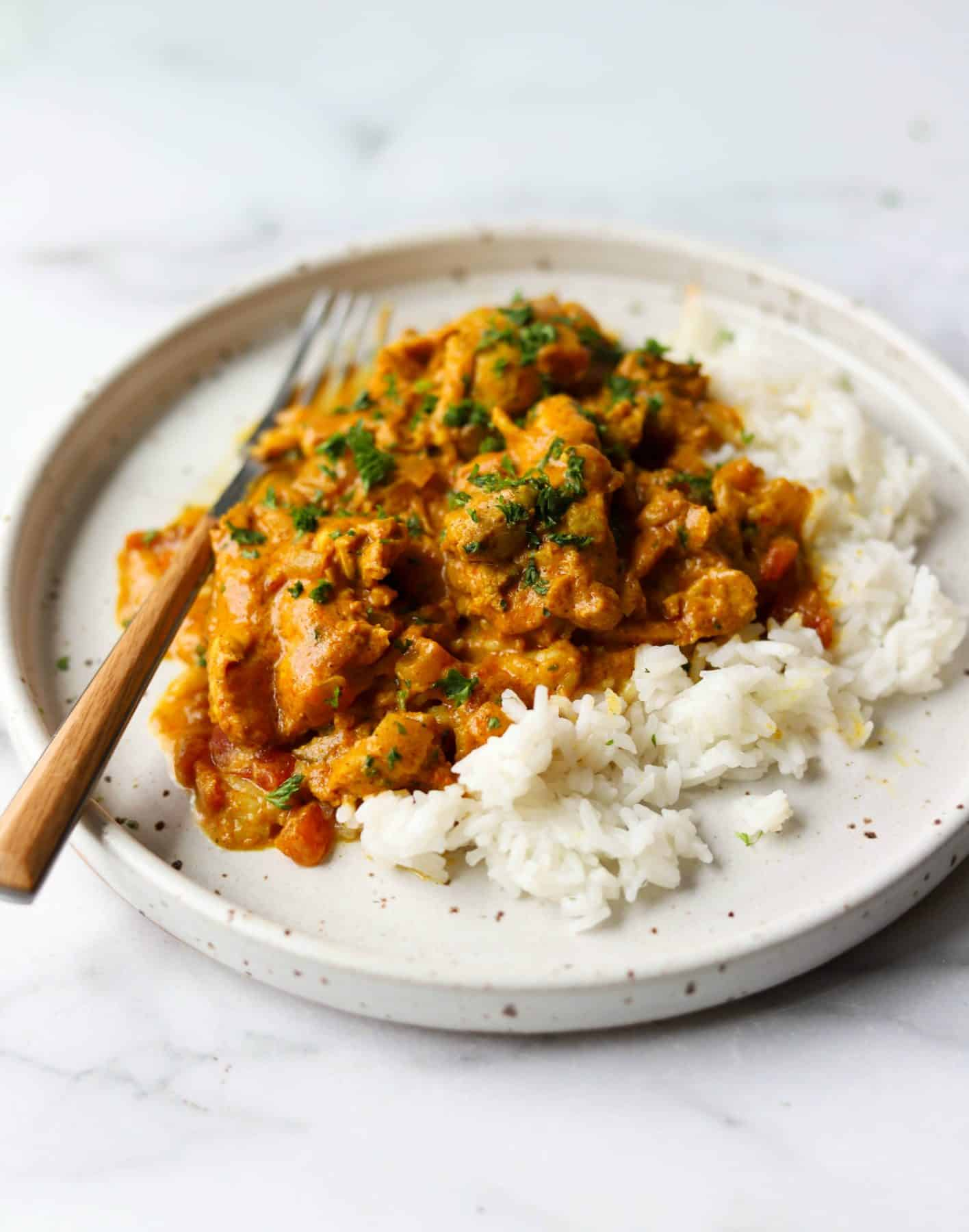 Indian Butter Chicken on a white plate