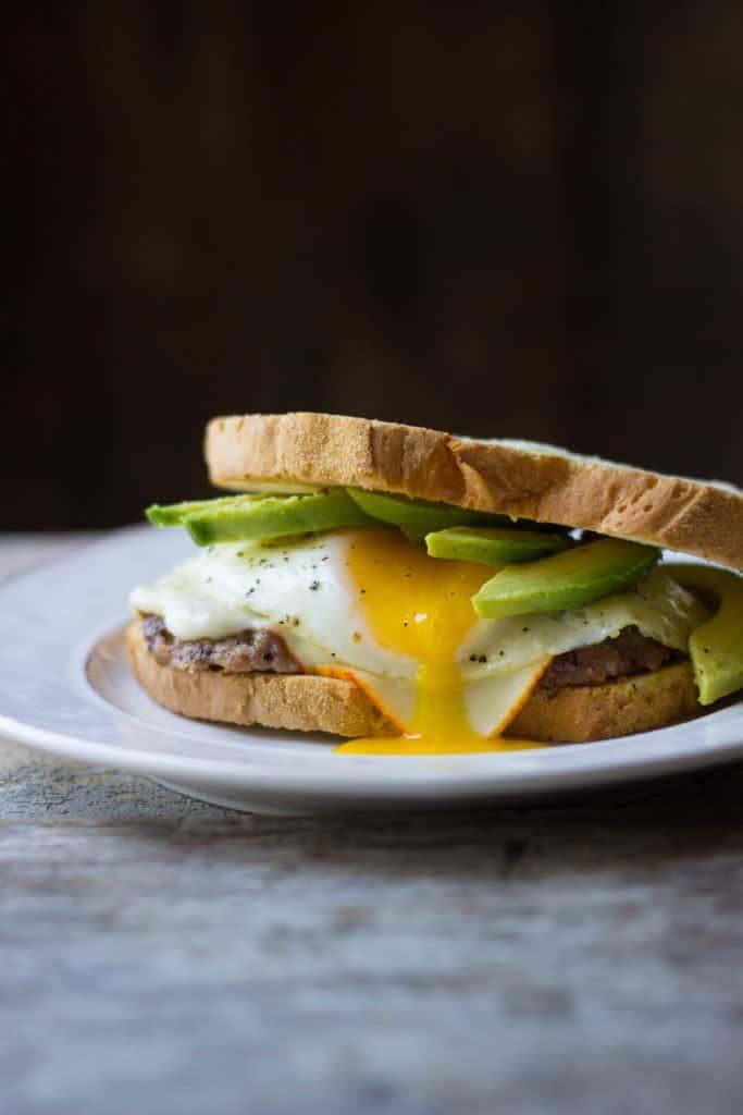 Breakfast sausage on a breakfast sandwich