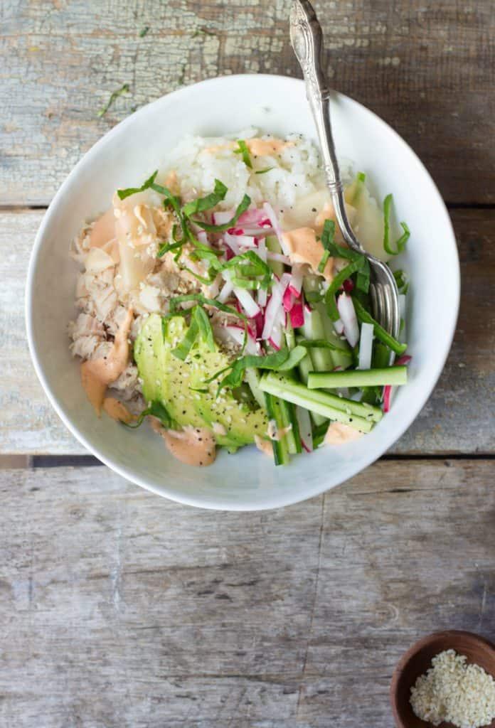 Sushi ingredients in a white bowl