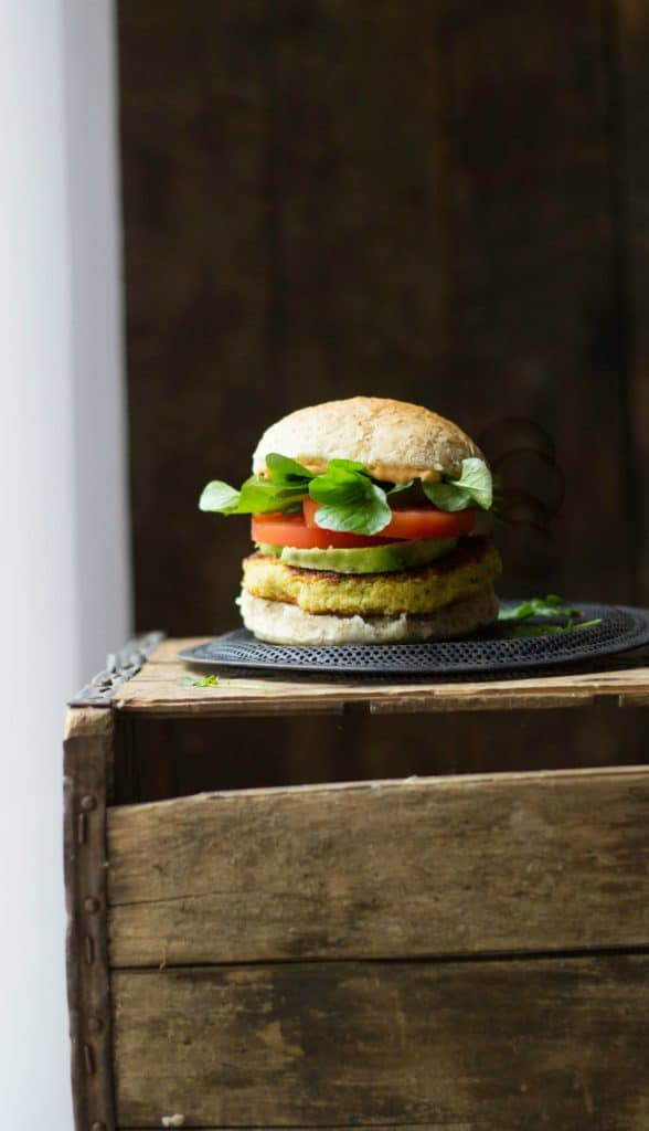 Veggie burgers on a crate