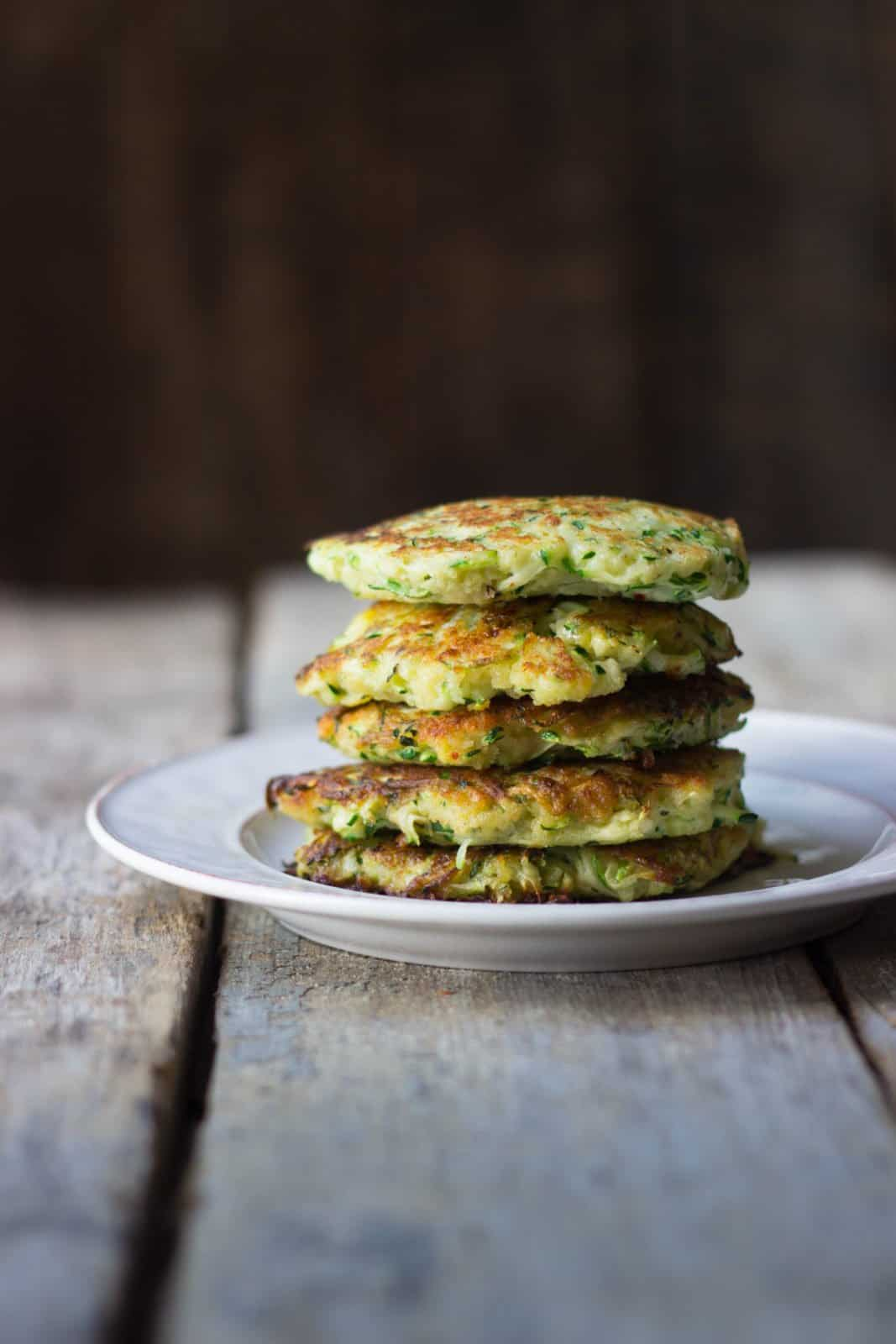 Side shot of healthy summer zucchini fritters
