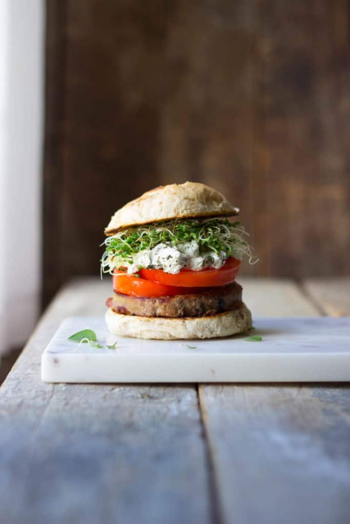 Herbed Goat Cheese Heirloom Tomato Turkey Burgers The Gourmet Rd