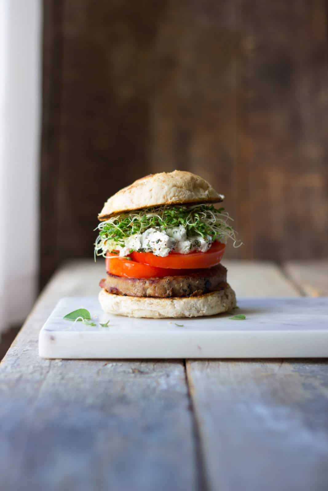 A side shot of turkey burgers perfect for grilling out in the summer